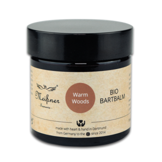 Organic beard balm Warm-Woods, 2.029 fl oz, brown glass pan