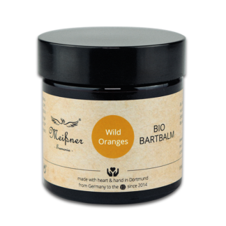 Organic beard balm Wild-Oranges, 2.029 fl oz, brown glass pan