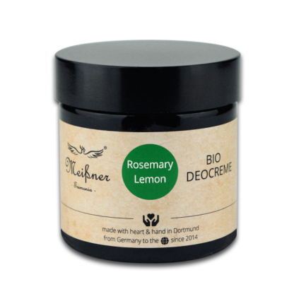 Organic deodorant Rosemary-Lemon, 75g, Brown glass crucible