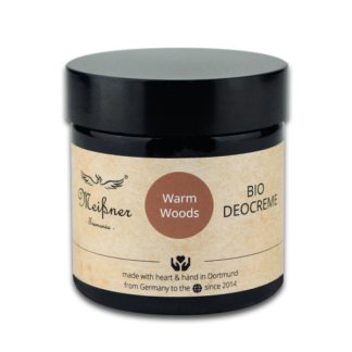 Organic deodorant Warm-Woods, 75g, Brown glass crucible