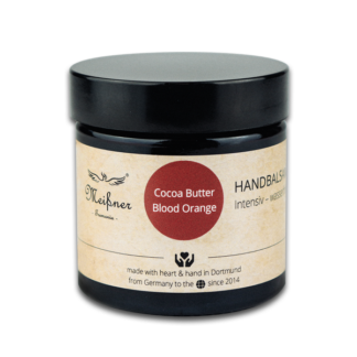Hand balm, Cocoa Butter Blood Orange, brown glass jar