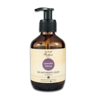 Organic natural soap liquid 6.763 fl oz, brown glass bottle, pump dispenser Lavender Deluxe