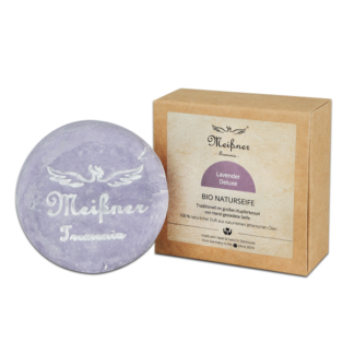 Organic natural soap Lavender-Deluxe - 140g in folding box - Meißner Tremonia
