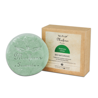 Organic natural soap Rosemary-Lemon - 140g in a folding box - Meißner Tremonia