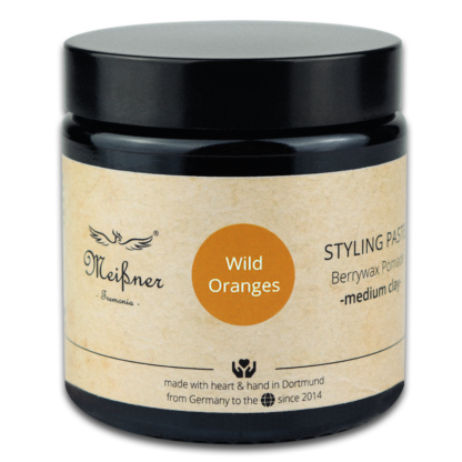Styling paste -medium clay- Wild-Oranges, 100g, brown glass pan