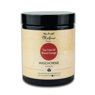 Waschcreme Tee-Tree-oil-Blood-Orange, 180ml, Braunglastiegel